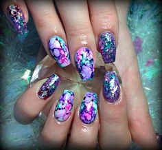 sharpie marbling acrylic nails coffin nails