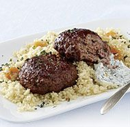 "SPICED LAMB PATTIES WITH APRICOT COUSCOUS: ~ From: ""Fine Cooking.Com"" ~ Recipe Courtesy of Nadia ARUMUGAM (from Fine Cooking, Issue 123) ~ Yield (4 servings) ~ A touch of plain yogurt in these Middle Eastern-style lamb patties helps keep them wonderfully succulent, and a dollop of mint-flavored yogurt on the side balances their richness."