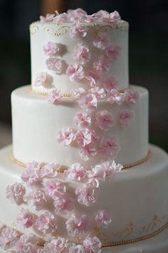 Wedding Cake by Ana Parzych Cakes   Photography: Julia Jane Studios - Gorgeous cascading pink flowers.