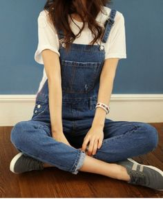 Casual Style Pockets Solid Color Straight Leg Women's Denim Overalls
