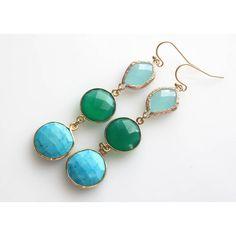 Long Dangle Earrings, Multi Element Earrings, Real Stone Earrings,... ($36) ❤ liked on Polyvore featuring jewelry, earrings, earring jewelry, green onyx earrings, blue dangle earrings, turquoise earrings and stone earrings