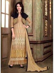 Beige Black Georgette Net Long Length Salwar Suit  #salwar kameez #anarkali suit #anarkali salwar