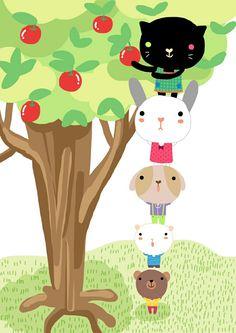 Pequeños quieren unas manzanas ???😄