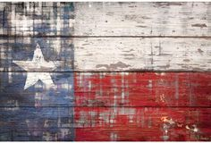 Texas // A beautifully distressed rendering of the Texas flag from artist Parvez Taj, printed with eco-friendly UV inks on reclaimed wood collected from old barns around the United States.
