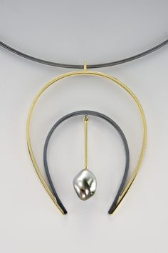 Necklace - oxidized sterling silver, 18kt, cultured natural keshi pearl on oxidized collar