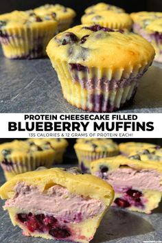 """If you're looking for a mouth watering protein muffins recipe, you're in luck. These low fat blueberry muffins are filled with high protein blueberry cheesecake and fresh blueberries for bursts of flavor in every bite. Each muffin has 12 grams of protein and just 135 calories!"