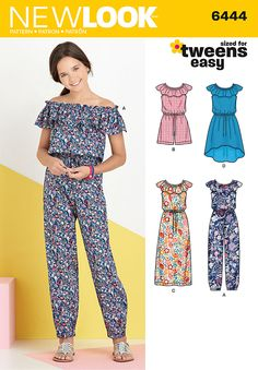 Sewing Ideas For Kids 6444 - Children - New Look Patterns - Girls' easy to sew dress and jumpsuit pattern features high low or maxi dress, and short romper or long jumpsuit with elastic at ankles. All have elastic waist with tie. New Look sewing pattern Girl Dress Patterns, Sewing Patterns For Kids, Sewing For Kids, Pattern Sewing, Clothes Patterns, New Look Girls Dresses, Dresses For Tweens, Summer Dresses For Girls, Girls Dresses Tween