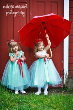 Aqua Flower Girl Dress with red embroidered bodices in different styles. Feel the red is a bit bold but like hte concept and the hair piece too