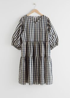 Voluminous Puff Sleeve Midi Dress - Gingham - Midi dresses - & Other Stories Party Dresses Online, Fashion Story, S Models, Gingham, Personal Style, Clothes For Women, How To Wear, Midi Dresses, Spring Fashion