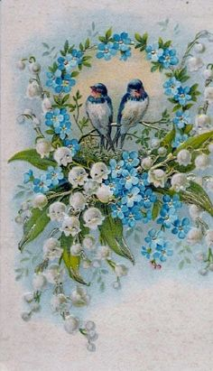 blue birds with lily of the valley and forget me nots
