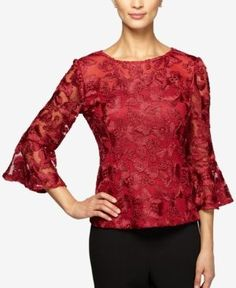 9ef7988730f Alex Evenings Petite Embroidered Bell-Sleeve Blouse   Reviews - Tops -  Petites - Macy s