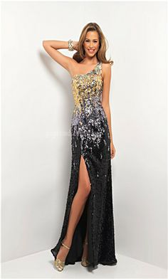 Gold silver and black sequence dress