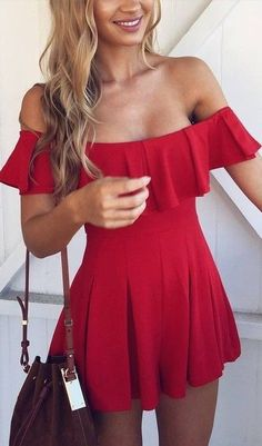 #summer #muraboutique #outfitideas |  Red Bardot Playsuit