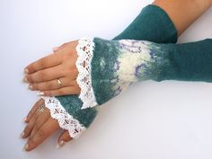 Romantic cuffs 02 hand felted lace very warm by ArtMode on Etsy