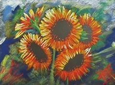 chalk pastel sunflowers.