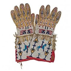 Sioux Beaded Hide Gauntlets Thread and sinew-sewn; ornately beaded with horse, rider, and American flags; Native Beadwork, Native American Beadwork, Native American Indians, Native Americans, American Flag, Native American Clothing, Native American Artifacts, Male Clothing, Native Indian