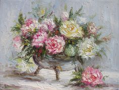 Old World Charm 23 x 30 Original Oil Painting Palette Knife Vase Bouquet Textured White Calm Roses Flowers by Marchella