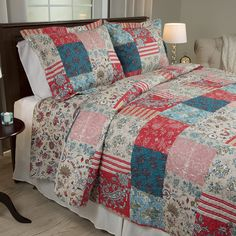 Bedford Home 3 Piece Mallory Quilt Set, Full/Queen *** Want to know more, click on the image. (This is an affiliate link) Twin Quilt, Quilt Bedding, Bedding Sets, Cream Bedding, Quilt Pillow, King Quilt Sets, Queen Quilt, Bed Sets, Americana Bedroom
