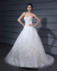 Strapless Monarch Train Embroidery A-Line Wedding Dress