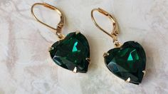 Emerald Heart Earrings  Heart Earrings  Rhinestone Earrings