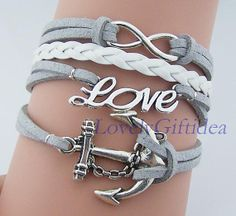Big Anchor Bracelet Infinity charm love Bracelet Man wome bracelet,Nautical jewelry sailor bracelet white Leather grey suede Korea cotton by LovelyGiftidea, $4.99