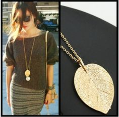 Fashion Jewelry Gold Color Leaf Pendant Necklace For Women Exquisite Long Necklace Korean Style Wholesale Sweater Chain Gift Leaf Pendant, Gold Pendant, Pendant Necklace, Leaf Necklace, Gold Necklace, Luxury Jewelry, Gold Jewelry, Leaf Jewelry, Jewelry Art