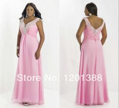 Free Shipping 2014 New Arrival Chic Beading V-neck Empire Waist Pink Plus Size Prom Dresses Sexy Long Party Evening Formal Gowns