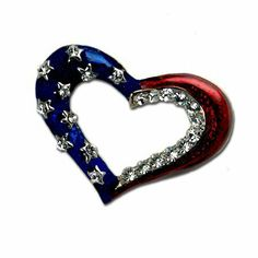 Patriotic Outline Heart Brooch/Pin Stars & Stripes Products. $15.00