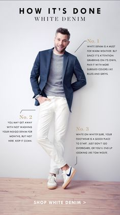 How to do white denim (you'll need this, tis the season for it). #menswear #tiesociety #denim