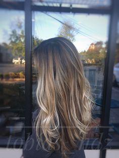 Brunette,Balayage, Blonde, Color-melt, Long Layers, Waves, Schwarzkopf
