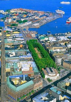 Helsinki, Finland: farthest isle of Katajanokka, in the middle Esplanad Park, in front of it the Swedish Theater, in the left corner Stockmann department store. Visit Helsinki, Finland Travel, Scandinavian Countries, Lappland, Parks, Baltic Sea, Aerial View, Budapest, Denmark