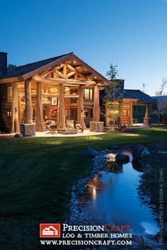 I love the way the used the cedar log with bases as the posts for the portico front...beautiful!