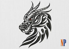 Dragon Head machine embroidery design. Patterned dragon. Embroidery file