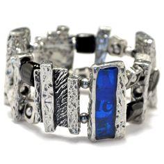 Modern blue bracelet, blue pewter painted bracelet, chunky bracelet, royal blue bracelet, modernist bracelet, contemporary jewelry by BijouChantaleGelinas on Etsy