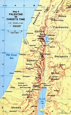Map of ancient Palestine at the time of Christ