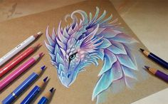 Want to discover art related to dragon? Check out inspiring examples of dragon artwork on DeviantArt, and get inspired by our community of talented artists. Fantasy Kunst, Fantasy Art, Cool Drawings, Drawing Sketches, Dragon Drawings, Pencil Drawings, Drawing Ideas, Dragons, Color Pencil Art