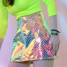 Candy Plaid Mini Skirt - Trend Topic For You 2020 Neon Outfits, Rave Outfits, Fashion Outfits, Womens Fashion, Kawaii Fashion, Cute Fashion, Look Fashion, Fashion Design, Ropa Color Neon