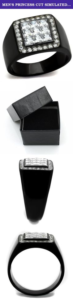 MEN'S PRINCESS CUT SIMULATED DIAMOND STAINLESS STEEL BLACK PLATED RING Size 11. Men's Princess Cut Simulated Diamond Stainless Steel Black Plated Ring Size 8-13 Men's AAA Grade Cubic Zirconia ring. Features 9 (3mm) princess cut stones, surrounded by 26 smaller stones in a pave setting. Total carat weight is 2.50 diamond equivalent. Top quality stones display enriched clarity just like real diamond! Made of solid stainless steel 316 and a high quality black ion plated finish for maximum…