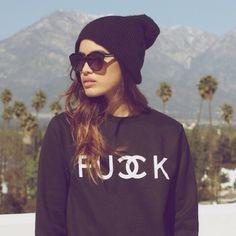 Sweaters - Fucck fu double CC k fuck chanel Sweatshirt unif