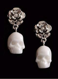 Mortal Beauty Skull & Rose Earrings