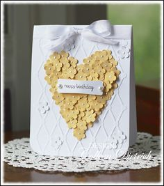 Heart of punched flowers birthday card, Verve sentiment.