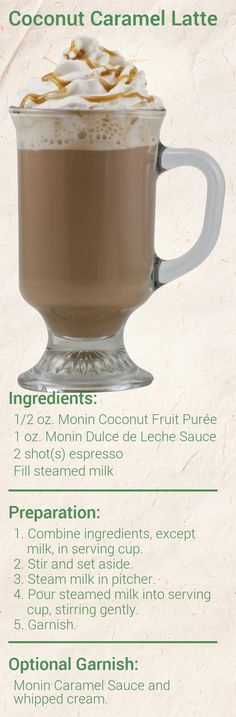 Create this delicious Coconut Caramel Latte in minutes using Monin Gourmet Syrup. Add a splash of Monin to coffee, cocktails, teas, lemonades and more. Pumpkin Spice Coffee, Iced Coffee, Iced Tea, Coffee Drink Recipes, Coffee Drinks, Lychee Nut, Healthy Shakes, Healthy Drinks, Hot Chocolate Coffee