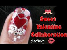 Sweet Valentine Collaboration - Stained Glass Hearts Nail Art Design Tutorial for Valentine's Day