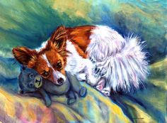 Snuggles - Papillon Dog Painting by Lyn Cook - Snuggles - Papillon Dog Fine Art Prints and Posters for Sale