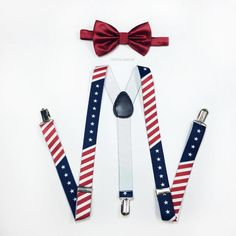 American Flag Suspenders Royal Red Bowtie Mens by crystalAmour