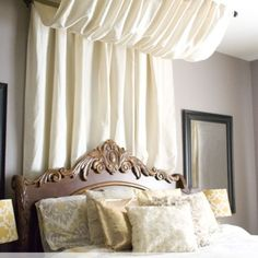 No-sew bed canopy -- from a tablecloth!