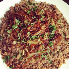 Lentils and Bulgur Wheat with Caramelized Onions Recipe -  serve with avocados and cucumbers and tsiziki sauce