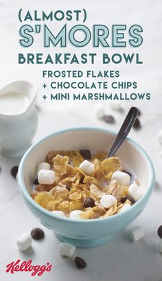 Looking for a breakfast idea that will help your kiddos transition into back-to-school? Check out this morning recipe featuring their favorite summer flavors! This Almost S'mores cereal combination uses Kellogg's® Frosted Flakes®, dark chocolate chips, and mini marshmallows to make this delicious dish.