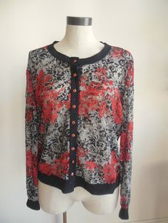 Joseph Ribkoff crystal like button jacket black red and white all lace size 16