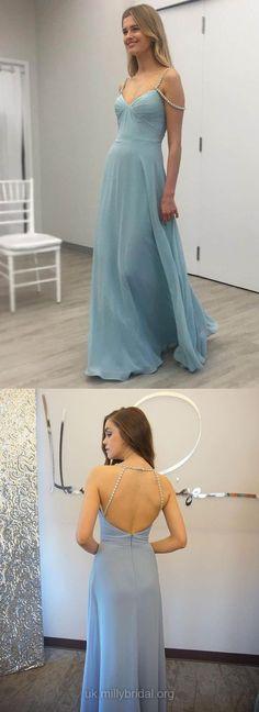 Long Prom Dresses Blue, Modest Prom Dresses for Teens, Sweet Evening Dresses Open Back, A-line Graduation Dresses V-neck #promdress